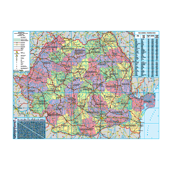 Harta Romaniei Administrativa Rutiera Turistica 100 X 140 Cm